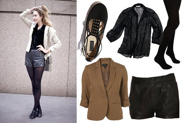 how-to-wear-shorts-in-winter-leather-shorts