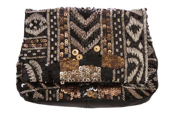 Deepa-Gurnani-Black-Gold-Beaded-and-Sequins-Clutch-$175slide