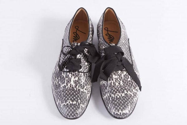 2-LANVIN-Black-White-Snakeskin-Lace-up-Oxford-Derby-Shoes