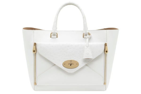 Oversized Willow Tote Calf Ostrich Mix White