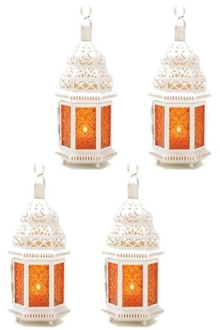Tabletop Lanterns with Amber Glass - asteriamart - $47.95