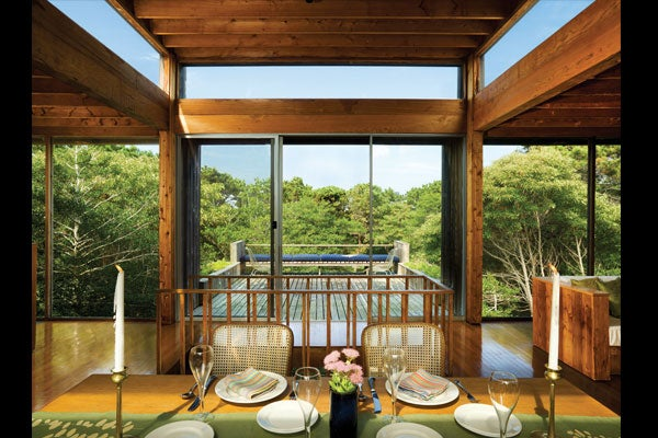 """CASHEL HOUSE, DINING ROOM AND THE """"DIVORCE ROOM."""" COURTESY OF FIRE ISLAND MODERNIST: HORACE GIFFORD AND THE ARCHITECTURE OF SEDUCTION."""
