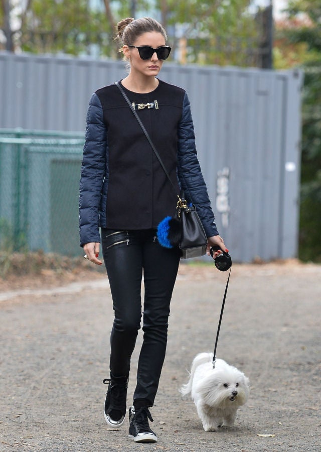 Olivia Palermo Walking Dog