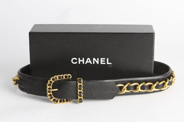 CHANEL-Black-Leather-Gold-Chain-Belt