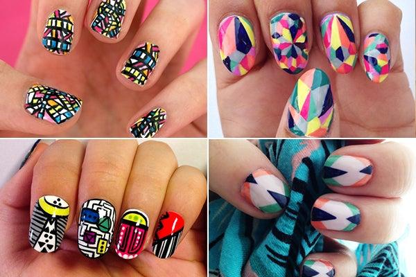 Graphic Nail Art Geometric Patterns Revlon Contest