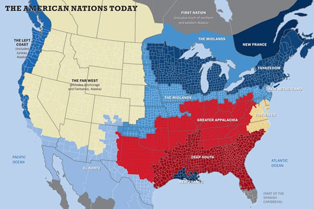 New American Nations Cultural Social Political Map - Us-political-map-red-blue
