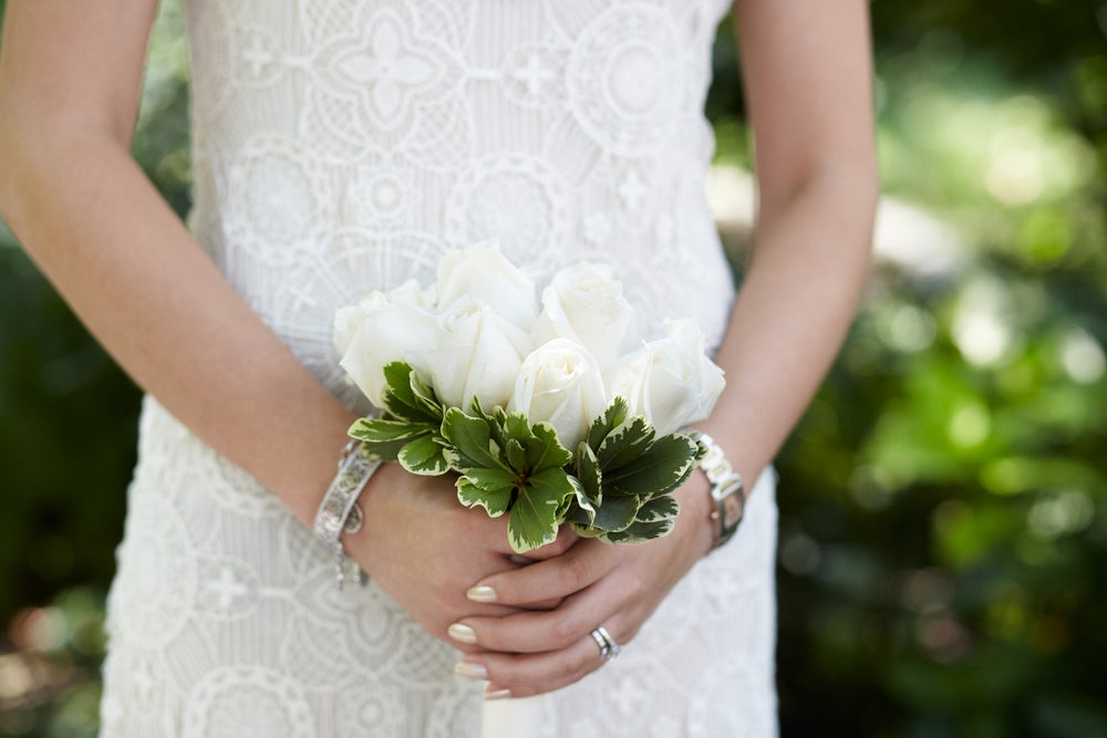 Lin's tiny bouquet is classic and stunning — sort of like her!