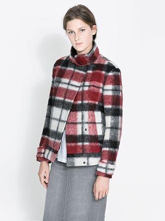 077d6697 Zara Double Breasted Checked Woolen Three Quarter Length Jacket, $89.99  (originally $119), available at Zara.